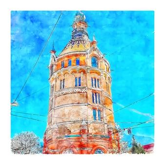 Wasserturm vienne autriche croquis aquarelle illustration dessinée à la main