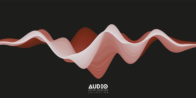 Wavefrom audio de surface solide 3d