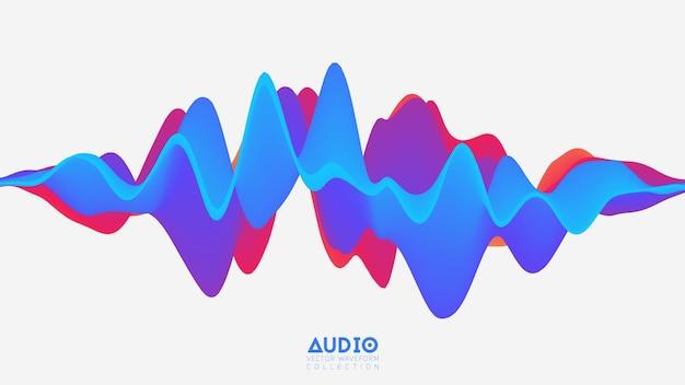 Wavefrom audio de surface solide 3d.