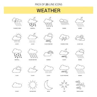 Weather line icon set - 25 styles de contour en pointillés