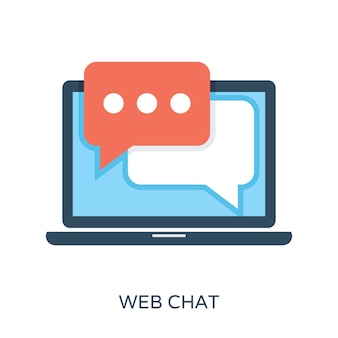 Web chat plat vector icon