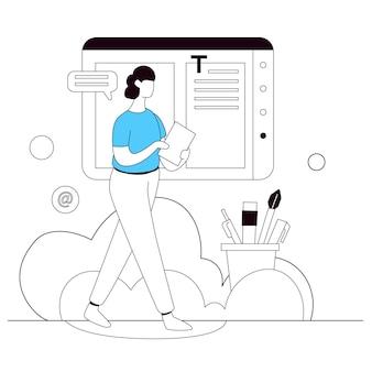 Web content design illustration vectorielle ligne plate