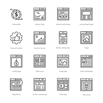 Web landing page line icons