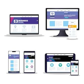 Web réactif de maquette, développement de site web de concept dans un ensemble d'appareils électroniques