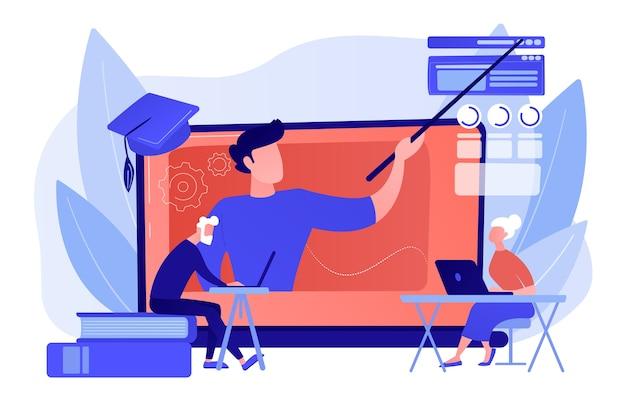 Webinaire, cours internet. tuteur universitaire à distance, éducateur. apprentissage en ligne pour les personnes âgées, cours en ligne pour les personnes âgées, concept d'éducation supplémentaire. illustration isolée de bleu corail rose