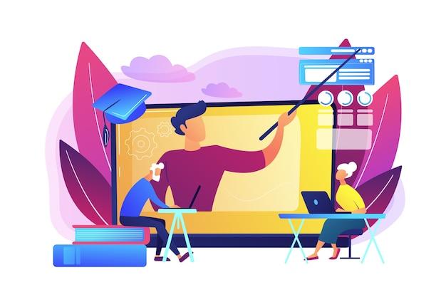 Webinaire, cours internet. tuteur universitaire à distance, éducateur. apprentissage en ligne pour les personnes âgées, cours en ligne pour les personnes âgées, concept d'éducation supplémentaire.