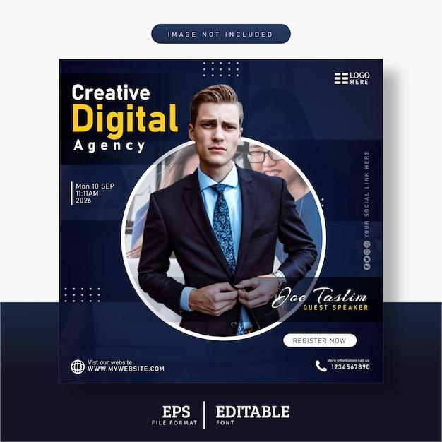 Webinaire en direct sur le marketing numérique, modèle de bannière de publication sur les médias sociaux