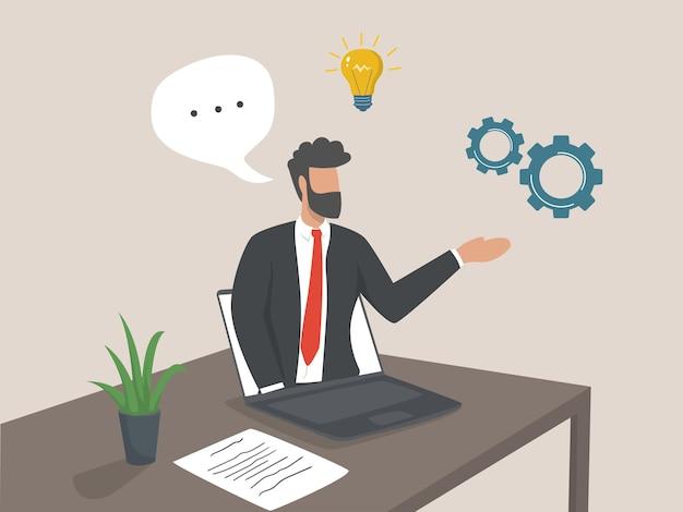 Webinaire d'entreprise. cours internet et cours à distance. concept de conférence d'affaires en ligne