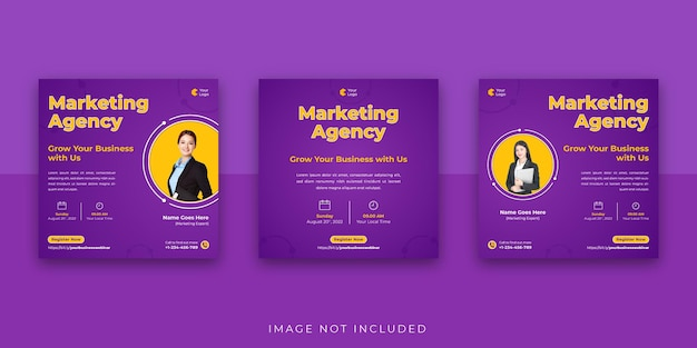 Webinaire d'entreprise de marketing numérique modèle de publication instagram sur les médias sociaux