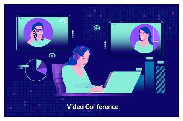 Webinaire en ligne, cours d'écoute audio, concept d'éducation en ligne