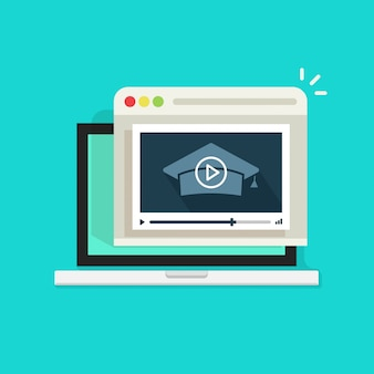 Webinaire en ligne sur ordinateur portable avec lecteur vidéo