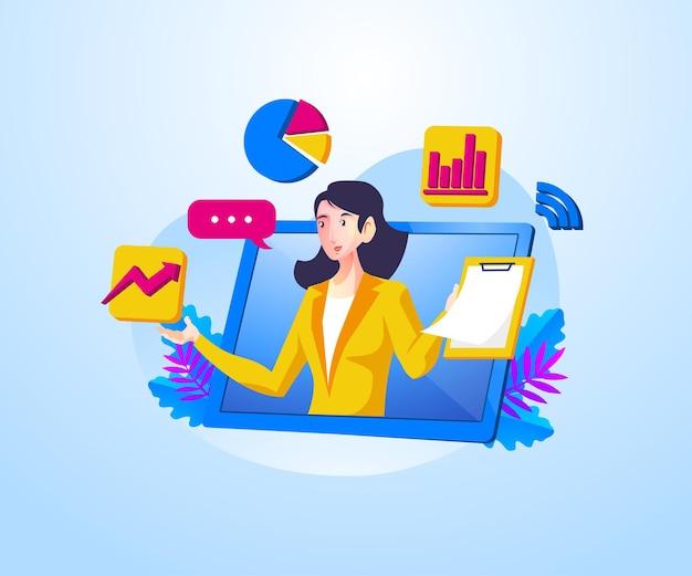 Webinaires en ligne avec des thèmes de présentation d'entreprise