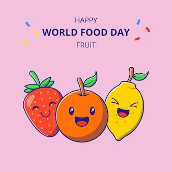Webpersonnages de dessins animés de fruits mignons. ensemble de collections de mascottes à la fraise, à l'orange et au citron.