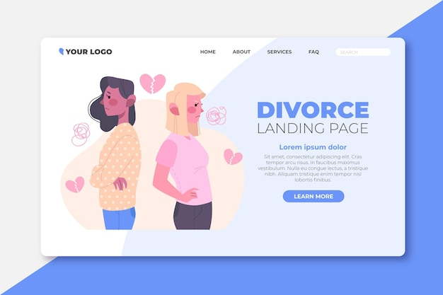 Webtemplate de page de destination du concept de divorce