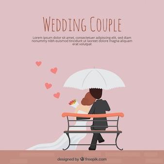 Wedding couple dans la conception plate