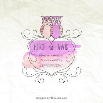Wedding hand drawn carte d'invitation