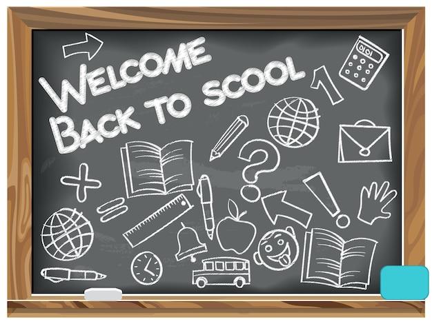 Welcome back to school écrit la craie sur un tableau noir