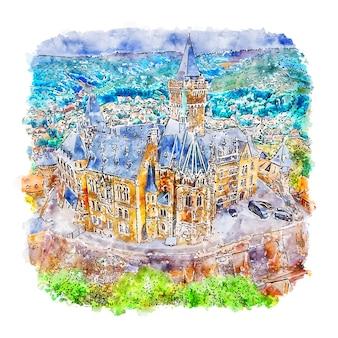 Wernigerode allemagne aquarelle croquis illustration dessinée à la main