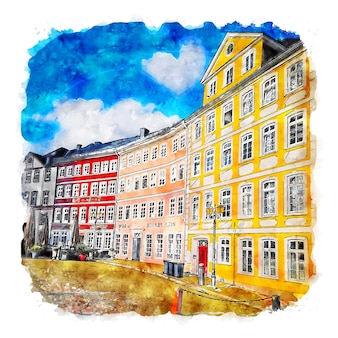 Wetzlar allemagne croquis aquarelle illustration dessinée à la main