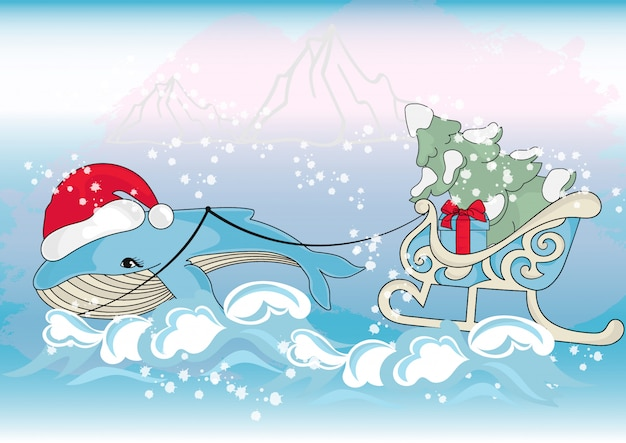 Whale christmas new year color illustration set