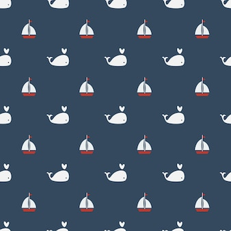 Whales seamless pattern on blue background