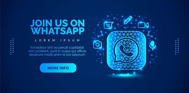 Whatsapp des médias sociaux avec fond bleu.