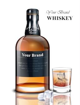 Whisky bouteille réaliste. conception de marque d'emballage de produit. place aux textes