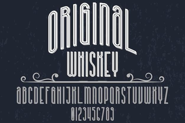 Whisky de conception d'étiquettes de typographie rétro