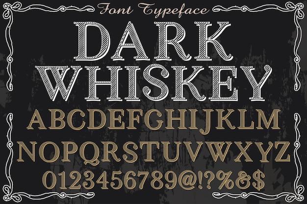Whisky foncé style graphique alphabétique style vintage