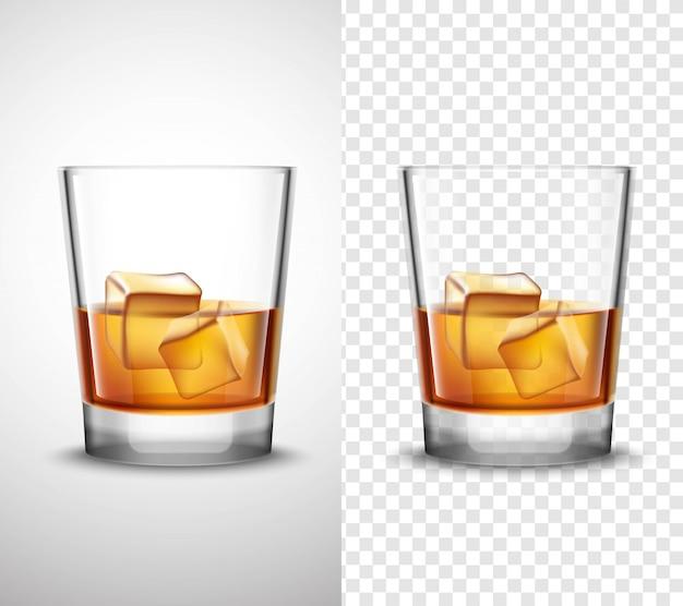 Whisky shots verrerie bannières transparentes réalistes