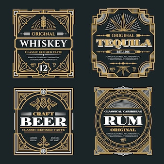 Whisky vintage et boissons alcoolisées vector étiquettes en style rétro art déco