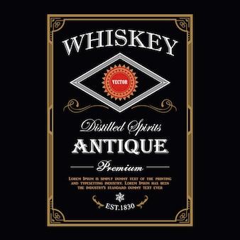 Whisky vintage frontière cadre antique gravure étiquette occidentale rétro