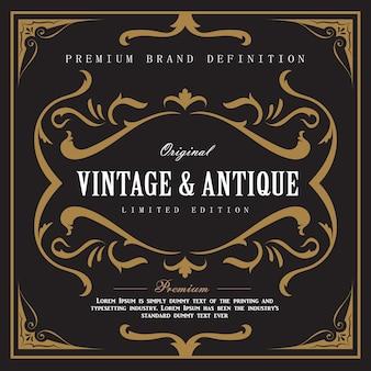 Whisky vintage frontière cadre antique gravure étiquette western rétro