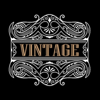 Whisky western label typographie antique création de logo de cadre vintage