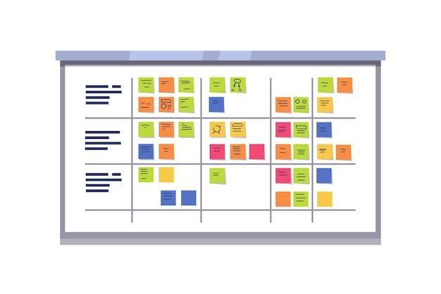 White scrum board rempli de tâches sur des cartes collantes