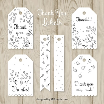 White thank you label collection