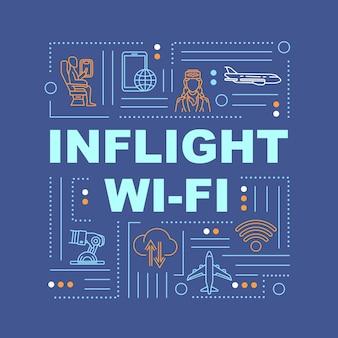 Wi-fi en vol, internet dans la bannière de concepts de mots d'avion. roamer, service aux passagers. infographie avec des icônes linéaires sur fond bleu. typographie isolée. illustration de couleur rvb de contour vectoriel