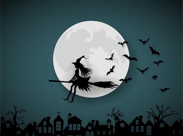Un wicth équitation balais sur le ciel nocturne