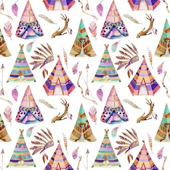 Wigwams aquarelles et modèle sans couture d'éléments amérindiens