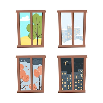 Windows défini avec vue sur le paysage dans un style plat.