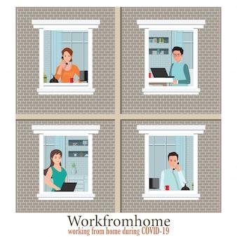 Windows avec les employés travaille à domicile pour éviter de propager covid-19.