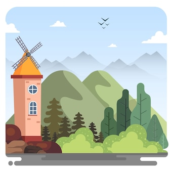 Windwheel mountain nature panorama illustration