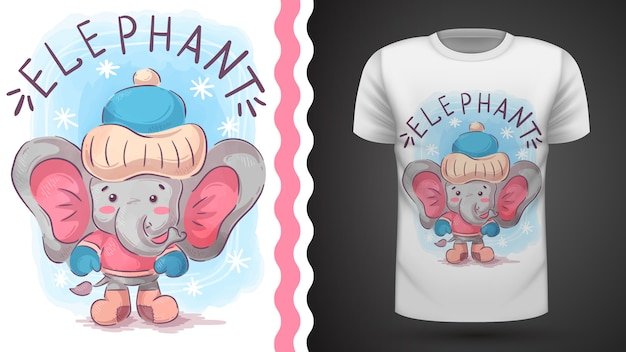 Winter elephant - idée d'imprimer un t-shirt