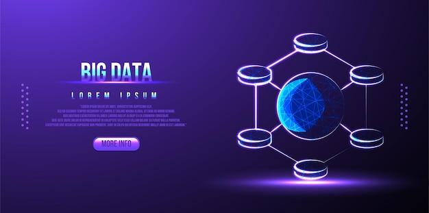 Wireframe low poly big data
