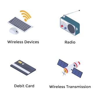 Wireless technologies isometric icons set
