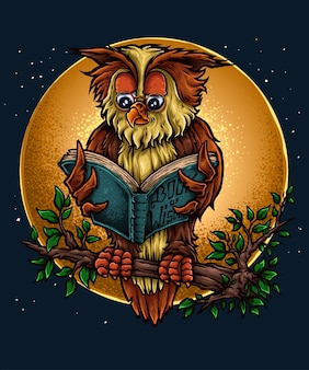 Wise owl character design rayonnant un livre