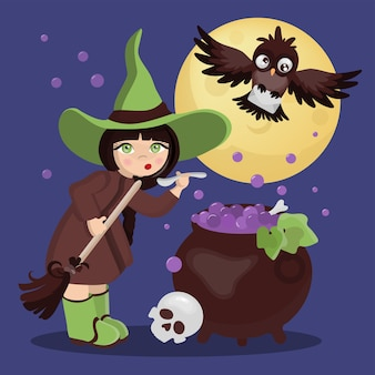 Witch potion mystic holiday halloween cartoon dessiné à la main design plat illustration de fille de sorcière