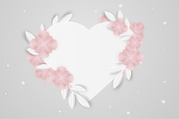 Withe coeur cadre papier fleur amour