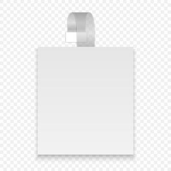 Wobbler carré blanc de vecteur avec bande transparente