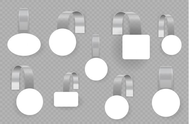 Wobblers de publicité vide blanc isolé sur fond transparent. wobbler rond blanc blanc 3d. concept pour les ventes de promotion, étiquette de prix de supermarché. étiquettes carrées pour la vente de papier. illustrtaion